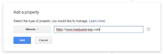 add property google webmaster tools