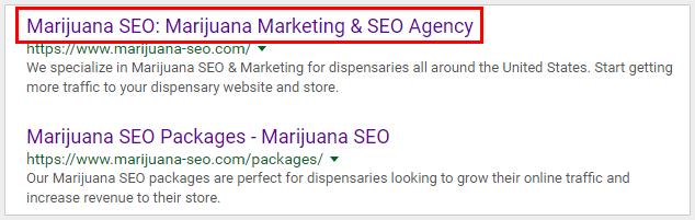 marijuana seo serp results