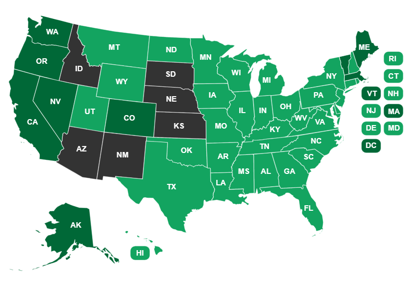 Recreational Marijuana Map Marijuana Legal States: A State By State Map Guide – Marijuana SEO