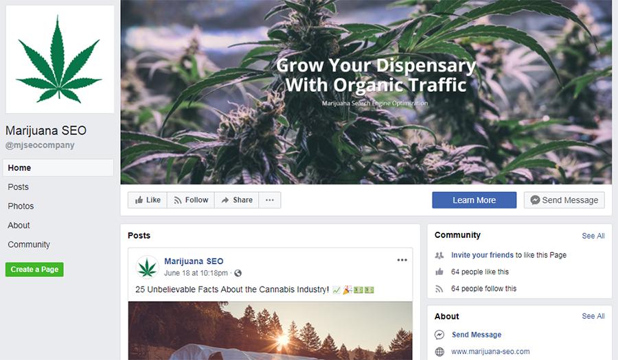 marijuana seo facebook page