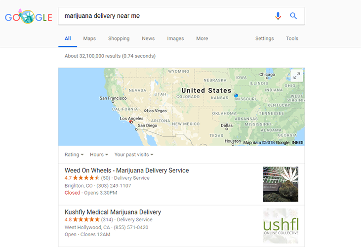marijuana delivery seo google local