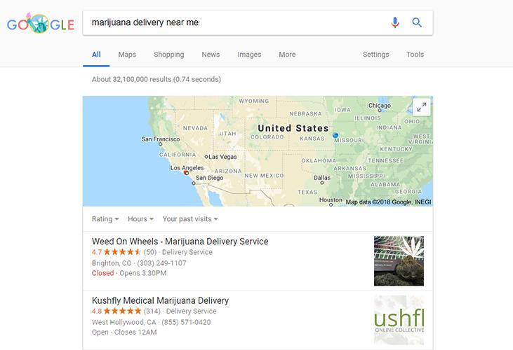 marijuana delivery seo google local