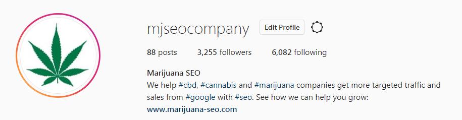 marijuana seo instagram