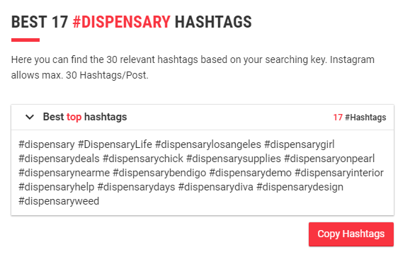 dispensary hashtags