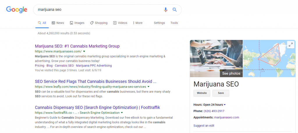 marijuana seo google my business