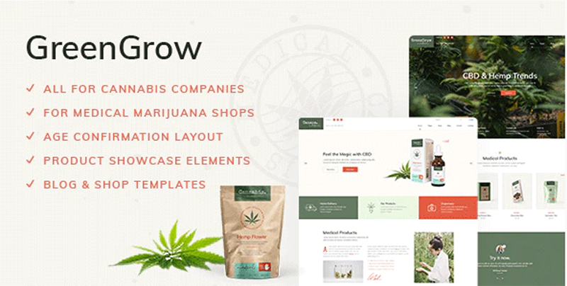greengrow wordpress cannabis theme