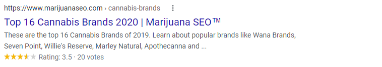marijuana seo star rating reviews