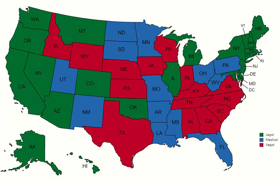 staet by state marijuana map 2021